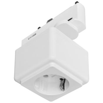 Steckdose mit 3-Phasen-Universaladapter, weiß