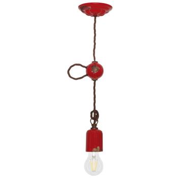 Vintage Pendelleuchte rot, 1 x E27, Ferroluce