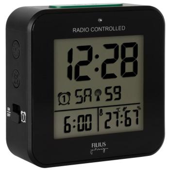 Wecker mit Funkuhrwerk schwarz, digitale Zeitanzeige