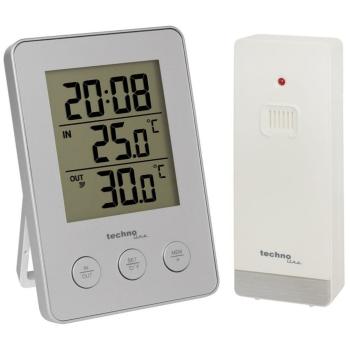 Temperaturstation mit Quarzuhr silber, WS 9175