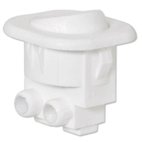 Einbau-Wippenschalter, 6(2)A, weiß Ø 21,7 mm